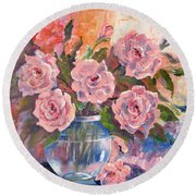 Shades Of Flowers Round Beach Towel