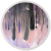 Round Beach Towel featuring the painting Shades Of Forest by Yolanda Koh