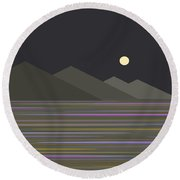 Round Beach Towel featuring the digital art Shades Of Gray At Night by Val Arie