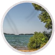 Round Beach Towel featuring the photograph Shades Of Green And Blue by Sue Smith