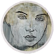 Shades Of Grey And Beige Round Beach Towel