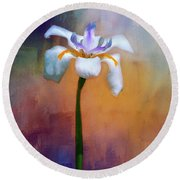 Round Beach Towel featuring the photograph Shades Of Iris by Carolyn Marshall