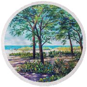 Shades Of Longboat Key Round Beach Towel by Lou Ann Bagnall