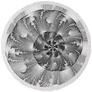 Shades Of Silver Round Beach Towel