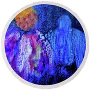 Shadow Abstract Bloom Round Beach Towel