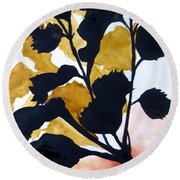 Shadow Hibiscus Round Beach Towel