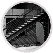 Shadow Of Stairs In Mono Round Beach Towel