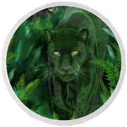 Shadow Of The Panther Round Beach Towel by Carol Cavalaris