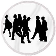Shadow People Round Beach Towel