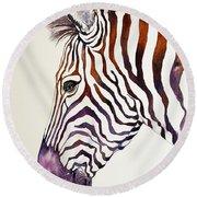 Shadow Violet Zebra Round Beach Towel