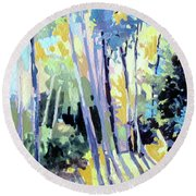 Round Beach Towel featuring the painting Shadowed Walk by Rae Andrews