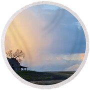 Shadows And Light Round Beach Towel