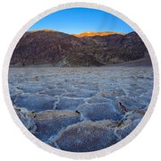 Shadows Fall Over Badwater Round Beach Towel