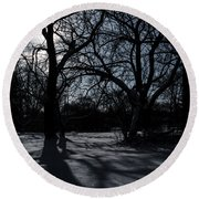 Shadows In January Snow Round Beach Towel