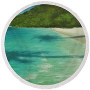 Shadows Over Magens Bay By Alan Zawacki Round Beach Towel