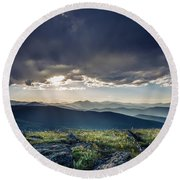 Shadows Over Mountains Round Beach Towel