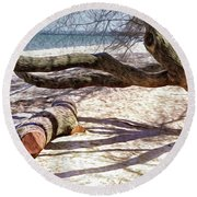 Shadows Round Beach Towel by Pennie  McCracken