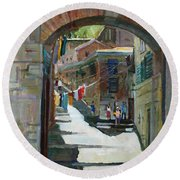 Shadows The Old Town Round Beach Towel
