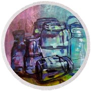 Shadows Through Glass Round Beach Towel