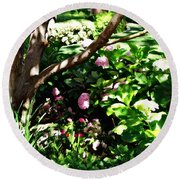 Round Beach Towel featuring the photograph Shadows Through The Garden by Glenn McCarthy Art and Photography
