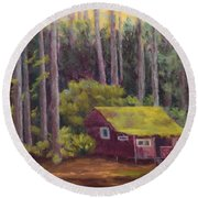 Round Beach Towel featuring the painting Shady Grove by Nancy Jolley