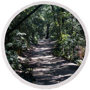 Shady Road On Mt Tamalpais Round Beach Towel