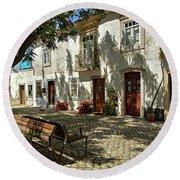 Shady Street In Tavira, Portugal Round Beach Towel