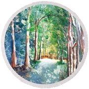 Shady Tree Lined Country Road Round Beach Towel