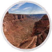 Shafer Canyon Road Round Beach Towel