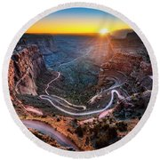 Shafer Trail Sunrise Round Beach Towel