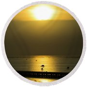 Shaft Of Gold Round Beach Towel