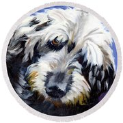 Shaggy Dog Portrait Round Beach Towel