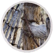 Round Beach Towel featuring the photograph Shaggy Fence Post by Phyllis Denton