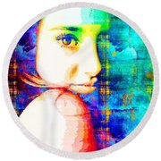 Round Beach Towel featuring the mixed media Shailene Woodley by Svelby Art