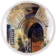 Round Beach Towel featuring the painting Shaker Heights by Andrew King