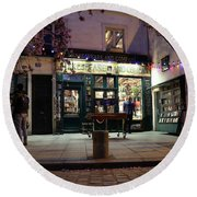 Round Beach Towel featuring the photograph Shakespeare Book Shop 1 by Andrew Fare