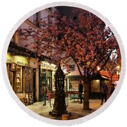 Round Beach Towel featuring the photograph Shakespeare Book Shop 2 by Andrew Fare