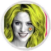 Shakira, Pop Art, Pop Art, Portrait, Contemporary Art On Canvas, Famous Celebrities Round Beach Towel by Dr Eight Love