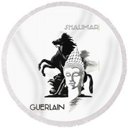 Round Beach Towel featuring the digital art Shalimar by ReInVintaged