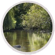 Round Beach Towel featuring the photograph Shallow River by Tara Lynn