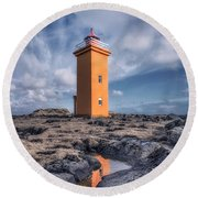 Shallows Of The Golden Shoreline Round Beach Towel