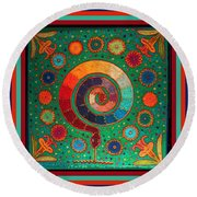 Shaman Serpent Ritual Round Beach Towel by Vagabond Folk Art - Virginia Vivier