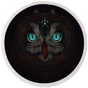 Shaman Spirit Owl Round Beach Towel