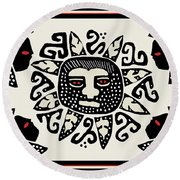 Round Beach Towel featuring the digital art Shaman Sun Spirits by Vagabond Folk Art - Virginia Vivier