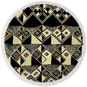 Round Beach Towel featuring the digital art Shaman Tribal Kuba by Vagabond Folk Art - Virginia Vivier