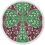 Shamrock With Leaves Round Beach Towel