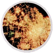 Shanghai From Space Round Beach Towel by Delphimages Photo Creations
