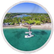 Shangrila Fiji Aerial Panorama Round Beach Towel by Brad Scott