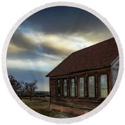 Round Beach Towel featuring the photograph Shaniko Schoolhouse by Cat Connor