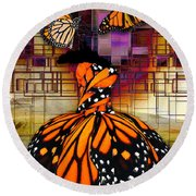 Round Beach Towel featuring the mixed media Shape Shifting by Marvin Blaine